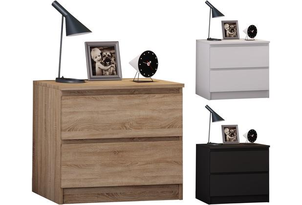 VCM Extra breiter Nachttisch Beistellkonsole Schubladen Nacht Kommode Breido Mini Schwarz
