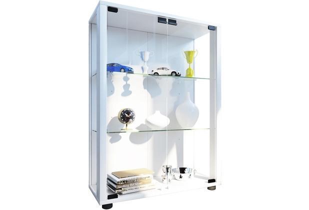 vcm sammelvitrine standvitrine glasvitrine glasregal vitrine glas schaukasten sintalo mit led. Black Bedroom Furniture Sets. Home Design Ideas