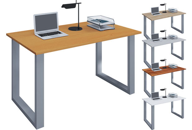 """VCM Schreibtisch Computertisch Arbeitstisch Büro Möbel PC Tisch \""""Lona\"""" B. 140 x T. 80 cm  Buche"""