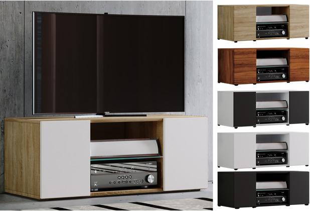 """VCM TV Lowboard Fernsehtisch Schrank Möbel Tisch Holz Sideboard Medien Rack Fernsehbank \""""Lowina\"""" B. 95cm  Schwarz"""