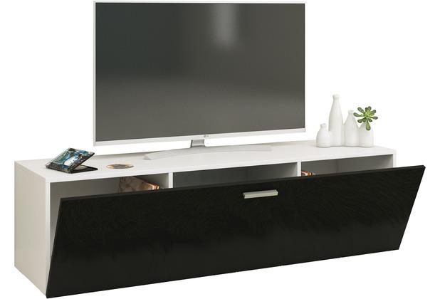 """VCM TV Wand Board Fernsehtisch Lowboard Wohnwand Regal Wandschrank Schrank Tisch Hängend \""""Fernso\"""" B. 140cm  Weiß / Schwarz"""