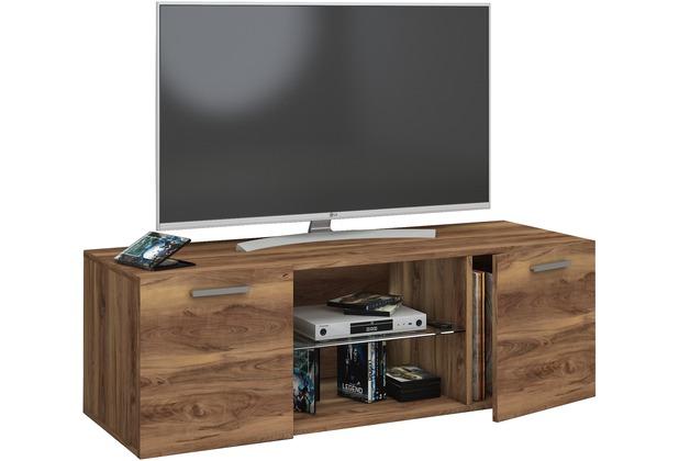 """VCM TV Schrank Lowboard Tisch Board Fernseh Sideboard Wandschrank 95/115/140 cm Wohnwand \""""Jusa\"""" B. 115cm  Kern-Nussbaum"""