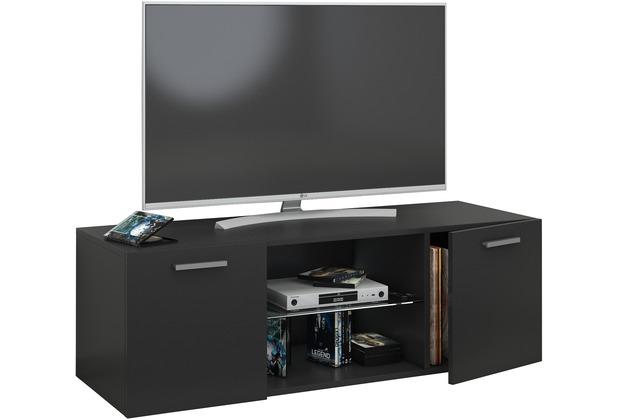 """VCM TV Schrank Lowboard Tisch Board Fernseh Sideboard Wandschrank 95/115/140 cm Wohnwand \""""Jusa\"""" B. 115cm  Schwarz"""