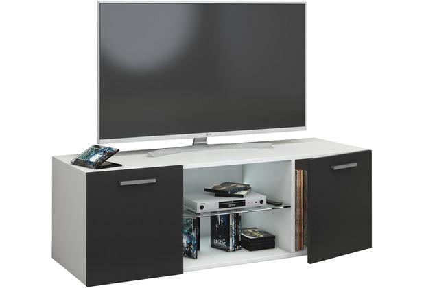 """VCM TV Schrank Lowboard Tisch Board Fernseh Sideboard Wandschrank 95/115/140 cm Wohnwand \""""Jusa\"""" B. 115cm  Weiß / Schwarz"""