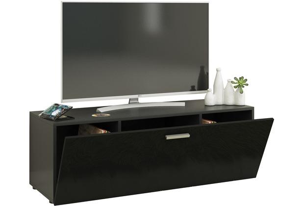 """VCM TV Lowboard Fernsehtisch Rack Phono Möbel Tisch Holz Sideboard Medienrack Fernsehbank \""""Winalo\"""" B. 115cm  Schwarz"""