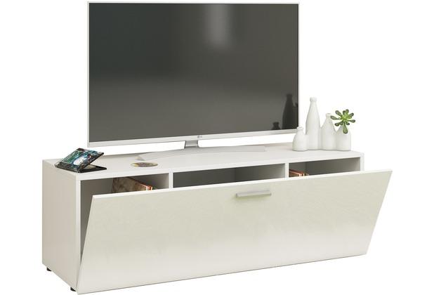 """VCM TV Lowboard Fernsehtisch Rack Phono Möbel Tisch Holz Sideboard Medienrack Fernsehbank \""""Winalo\"""" B. 115cm  Weiß"""
