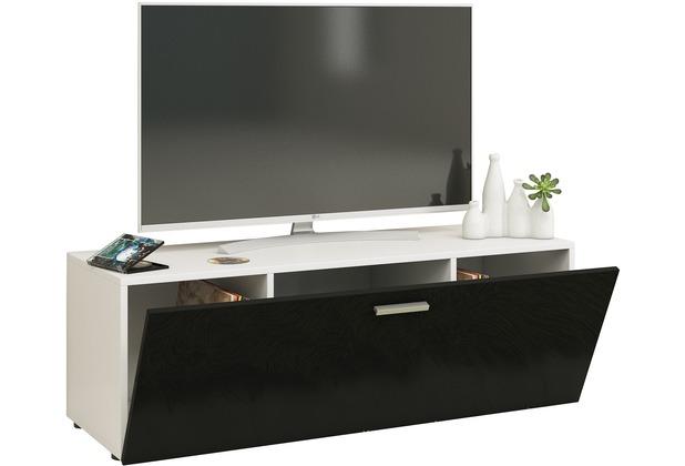 """VCM TV Lowboard Fernsehtisch Rack Phono Möbel Tisch Holz Sideboard Medienrack Fernsehbank \""""Winalo\"""" B. 115cm  Weiß / Schwarz"""