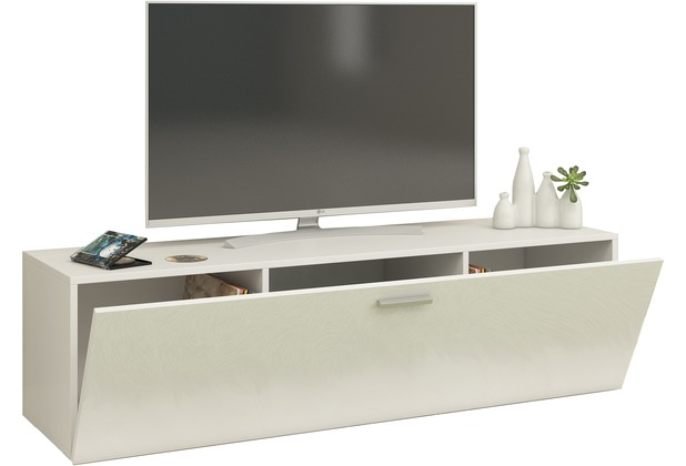"""VCM TV Wand Board Fernsehtisch Lowboard Wohnwand Regal Wandschrank Schrank Tisch Hängend \""""Fernso\"""" B. 115cm  Weiß"""