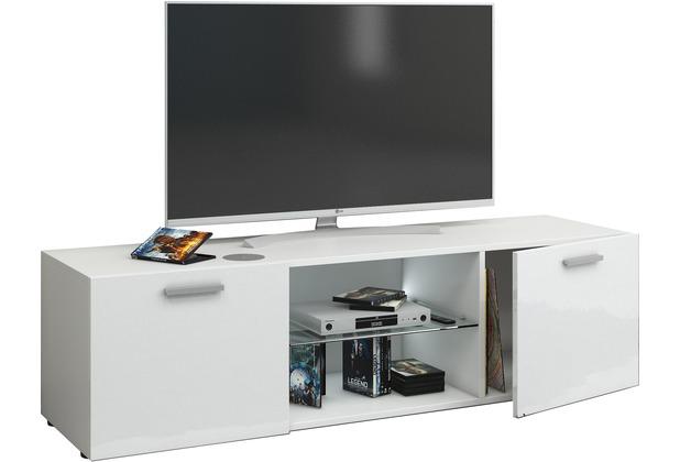 "VCM TV Wand Board Tisch Fernsehtisch Schrank Lowboard Hängeschrank Wandschrank Rack Hochglanz \""\'Jusa Hochglanz\"" B. 115cm  Weiß"