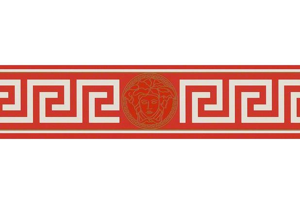 Versace Bordüre Greek, metallic, rot, weiß