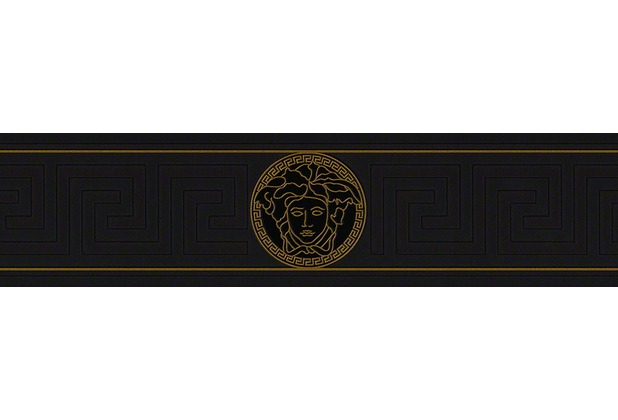 Versace Bordüre Greek, metallic, schwarz