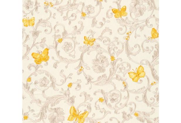 Versace florale Mustertapete Butterfly Barocco Vliestapete creme gelb metallic 343253