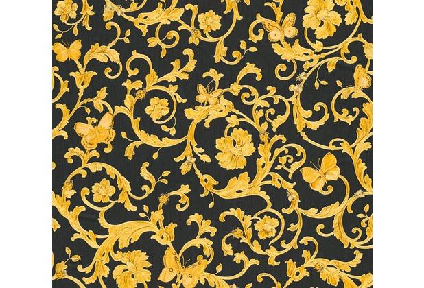 Versace florale Mustertapete Butterfly Barocco Vliestapete gelb metallic schwarz 10,05 m x 0,70 m