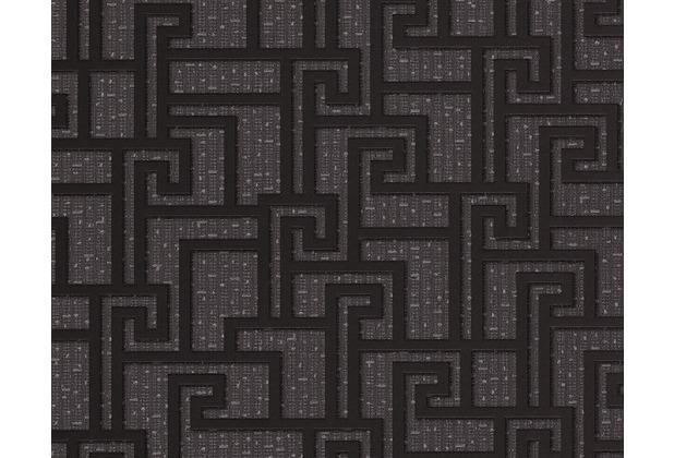 Versace grafische Mustertapete Greek, Tapete, grau, metallic, schwarz