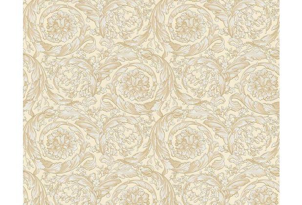 Versace klassische Mustertapete Barocco Flowers, Tapete, beige, creme, metallic 935831