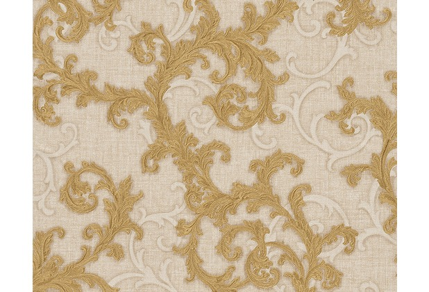 Versace klassische Mustertapete Baroque & Roll, Tapete, beige, creme, metallic 962313