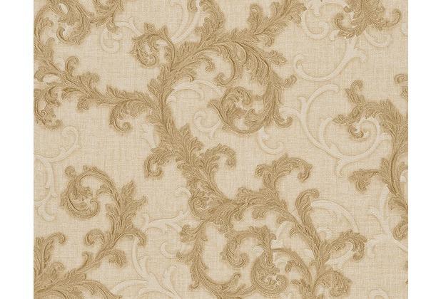 Versace klassische Mustertapete Baroque & Roll, Tapete, beige, metallic 962312