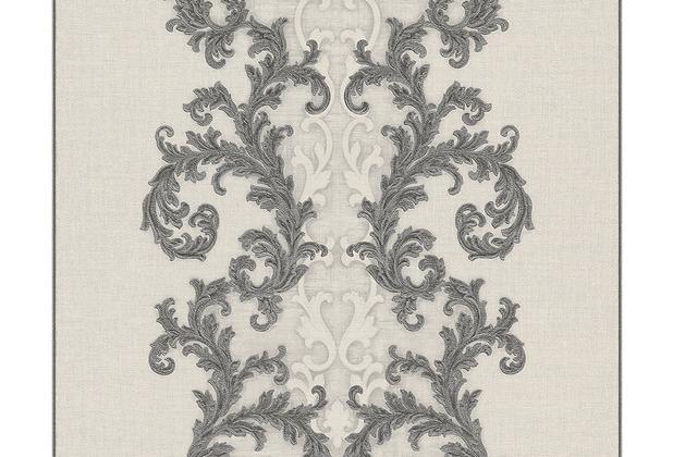 Versace klassische Mustertapete Baroque & Roll, Tapete, grau, metallic, weiß 962325