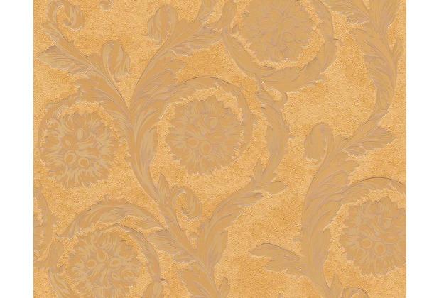 Versace klassische Mustertapete Creamy Barocco, Tapete, braun, metallic