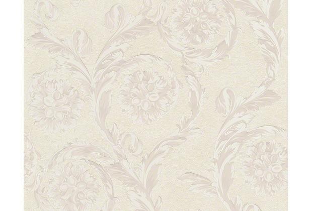 Versace klassische Mustertapete Creamy Barocco, Tapete, creme, metallic, weiß