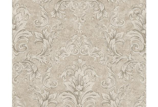 Versace klassische Mustertapete Pompei, Tapete, beige, grau, metallic 962153