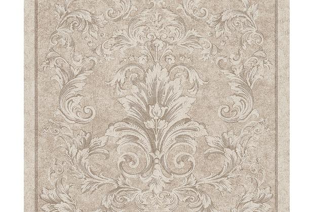 Versace klassische Mustertapete Pompei, Tapete, beige, grau, metallic 962163