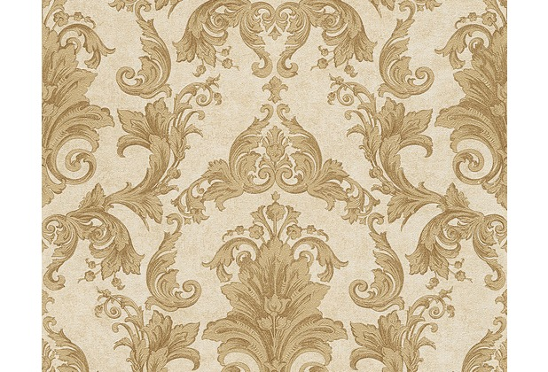 Versace klassische Mustertapete Pompei, Tapete, braun, gelb, metallic 962155