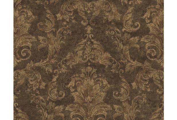 Versace klassische Mustertapete Pompei, Tapete, braun, metallic, schwarz 962151