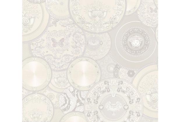 Versace Mustertapete Les Etoiles de la Mer 2 Vliestapete grau metallic weiß 10,05 m x 0,70 m 349014