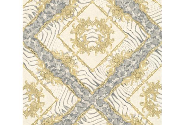 Versace Mustertapete Vasmara Vliestapete creme grau metallic 10,05 m x 0,70 m 349042