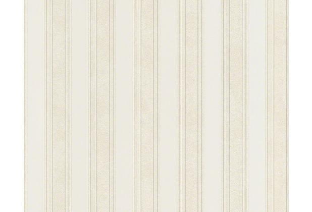 Versace Streifentapete Creamy Barocco, Tapete, creme, metallic, weiß
