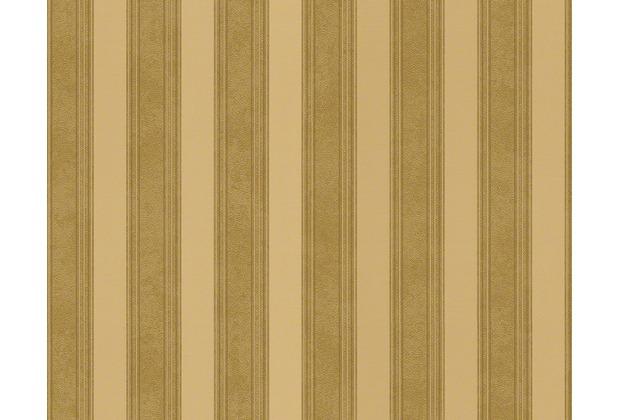 Versace Streifentapete Creamy Barocco, Tapete, gelb, metallic 935893