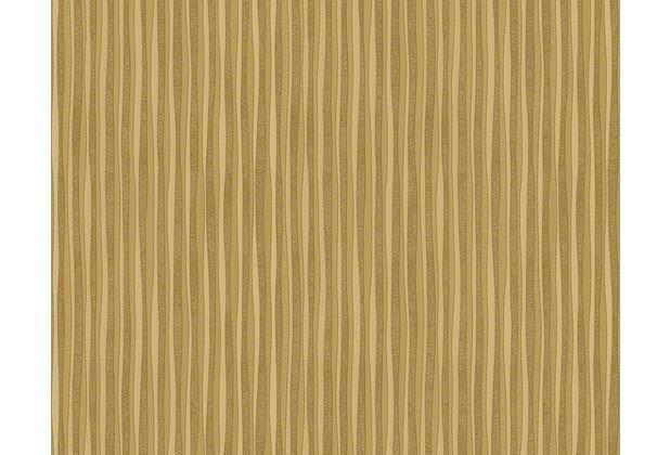 Versace Streifentapete Creamy Barocco, Tapete, gelb, metallic 935903