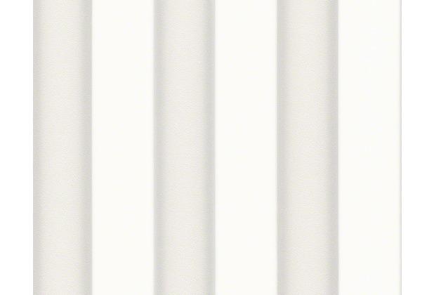Versace Streifentapete Herald, Tapete, grau, metallic, weiß