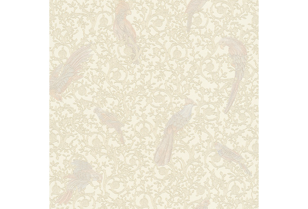 Versace Vliestapete Barocco Birds metallic weiß creme 10,05 m x 0,70 m