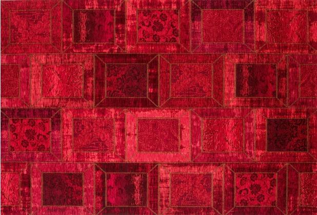 Kelii Patchwork-Teppich Montana rot 80 cm x 150 cm