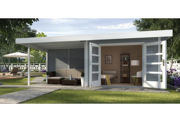 Weka Designhaus 126 B Gr.2, grau, 28 mm, DT, Anbau 300 cm, ohne RW