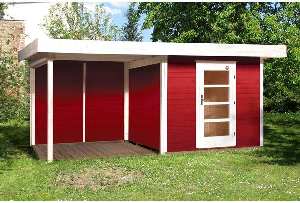 Weka Designhaus 172 B Gr.2, schwedenrot, 28 mm, ET, Anbau 300 cm, ohne RW