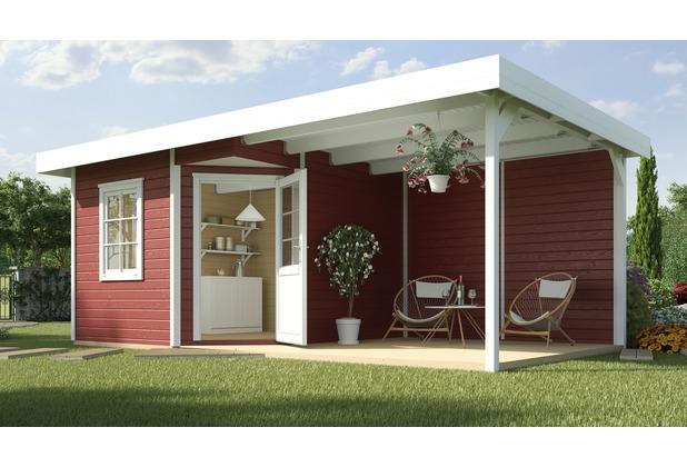 Weka Designhaus 213 B Gr.2, 5-Eck, schwedenrot, 28 mm, ET, F, Anbau 300 cm