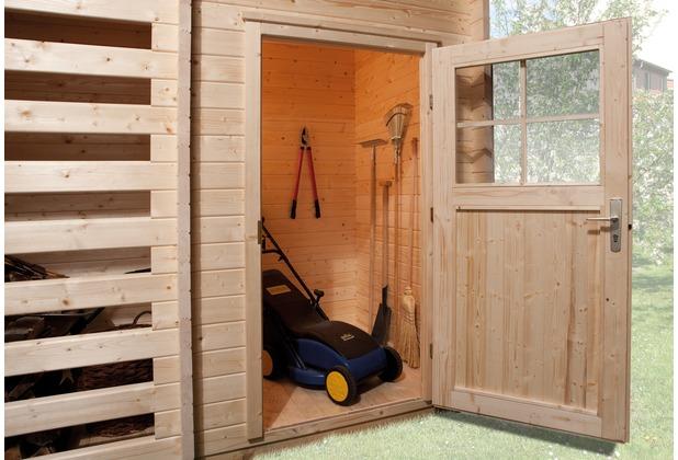 weka gartenhaus 150 28 mm dt mit holzlager und ger teraum 4004581211042 ebay. Black Bedroom Furniture Sets. Home Design Ideas