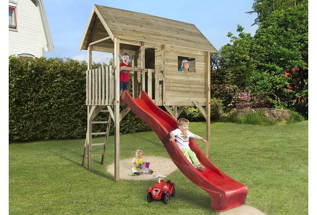 Weka Tabaluga Kinderstelzenhaus 815, mit Wellenwasserrutsche rot 290 cm