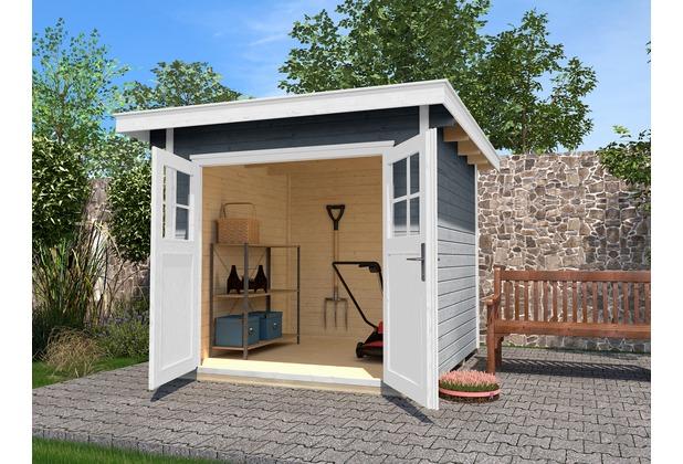 Weka MH Gartenhaus , 240 x 209 cm, Dt, Flachdach, grau/weiss