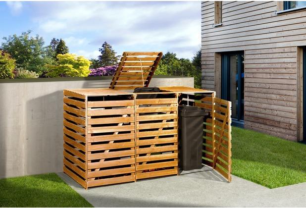 Weka Mülltonnenbox für 3 Tonnen, honigbraun imprägniert