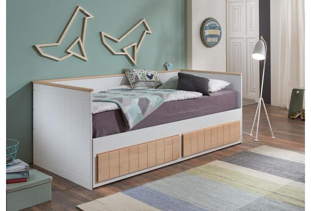 Wohngebiet Einzelbett TIMMI inkl. Bettkasten, Buche massiv, bicolor  90/180 x 200