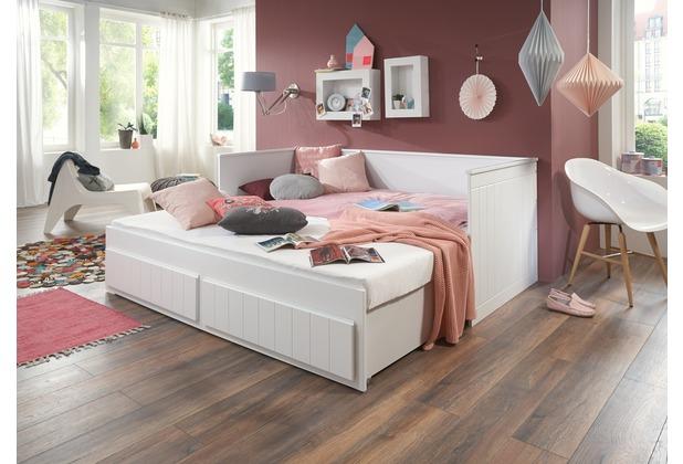 relita Einzelbett TIMMI inkl. Bettkasten, Buche massiv, weiß 90/180 x 200