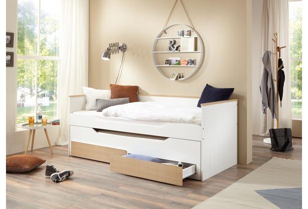 Wohngebiet Funktionsbett RONNY, lackiert (inkl. Rollrost) 2. Liegefläche im Bettkasten & 2 Schubladen bicolor
