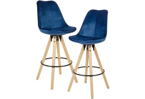 Wohnling 2er Set Barhocker Dunkelblau Samt / Massivholz, Skandinavisch 2 Stück, mit Lehne Sitzhöhe 77 cm blau