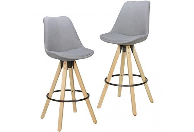 Wohnling 2er Set Barhocker LIMA Grau Retro Design Stoff Holz mit Lehne | Design Barstuhl Retro Skandinavisch 2 Stück | Tresenhocker Sitzhöhe 72 cm