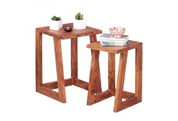 Wohnling 2er Set Beistelltisch Massivholz Sheesham Design Wohnzimmer-Tisch eckig Nachttisch Satztisch
