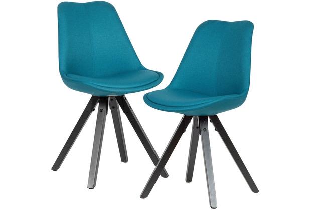 Wohnling 2er Set Esszimmerstuhl Petrol schwarze Beine Stuhl Skandinavisch, Polsterstuhl mit Stoff-Bezug